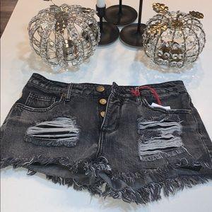 New! Dark wash mid rise frayed shorts